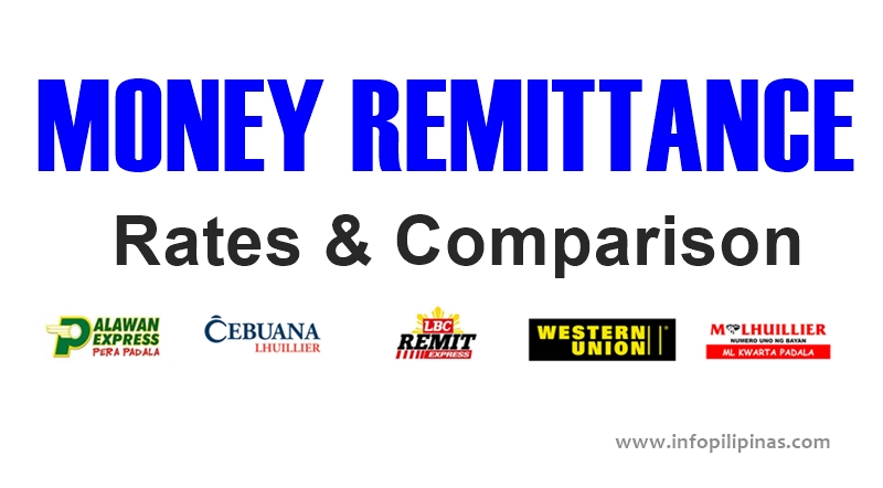 Money Remittance Rates And Comparison Palawan Express Cebuana Lhuillier Western Union Lbc Mlhuillier Info Pilipinas